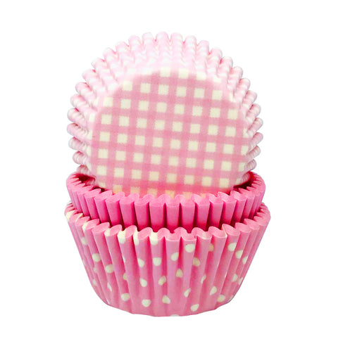 Pastel Pink Gingham and Polka Mix Cupcake Cases