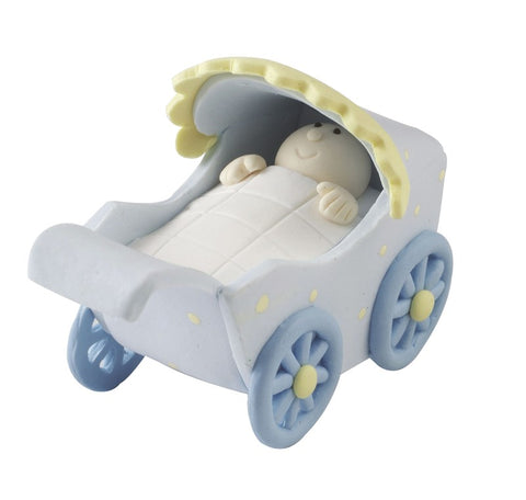 Blue Baby Pram - Claydough Cake Topper