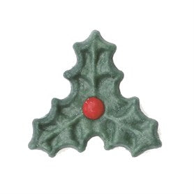 Dark Green Triple Holly Sugar Toppers - 20 Pack