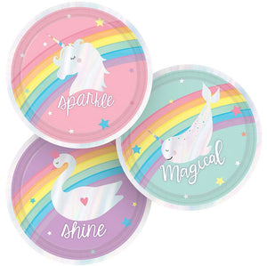 Small Iridescent Round Dessert Paper Plates 18cm : Magical Rainbow by Amscan