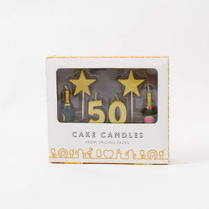 50th Birthday Milestone Cake Candle Set