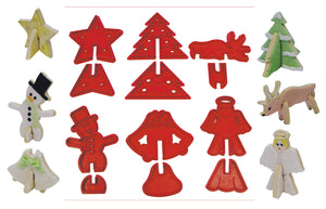 3D Christmas Characters Plastic Cookie Cutter Set
