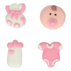 Girl Baby Cake  Sugar Decorations Toppers - Funcakes - 8PK