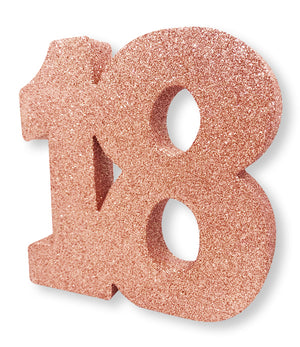 Number 18 Glitter Table Decoration Rose Gold
