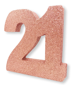 Number 21 Glitter Table Decoration Rose Gold