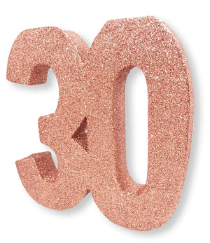 Number 30 Glitter Table Decoration Rose Gold
