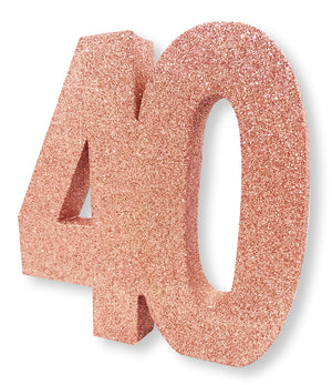 Number 40 Glitter Table Decoration Rose Gold