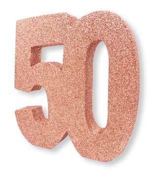 Number 50 Glitter Table Decoration Rose Gold