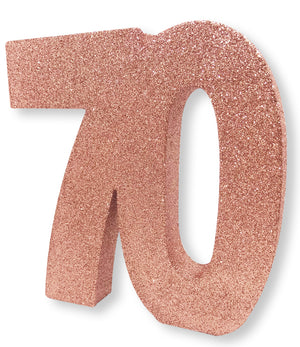 Number 70 Glitter Table Decoration Rose Gold