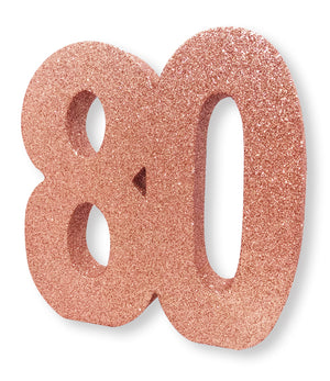 Number 80 Glitter Table Decoration Rose Gold