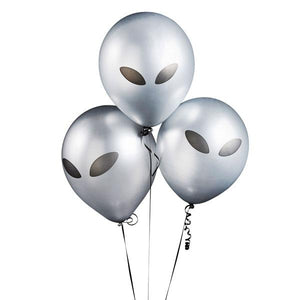 Silver Alien Latex Ballloons