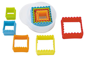 Square Fluted & Flat Plastic Cutters Set Multi-Coloured