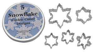 Snowflake Tin-Plated Cookie Cutter Set in Storage Tin