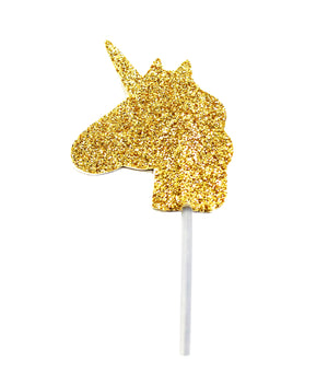 Glitter Unicorn Cupcake Toppers Gold