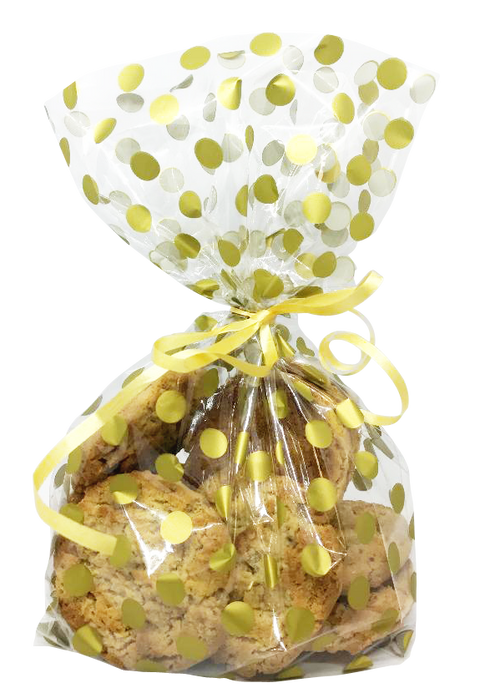 Gold Polka Dot Cello Bags with Twist Ties