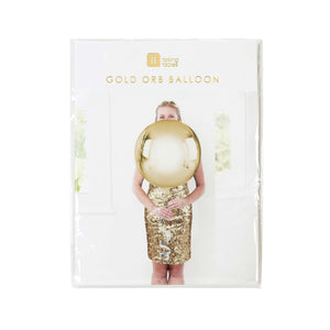 Metallic Gold Orb Balloon with String
