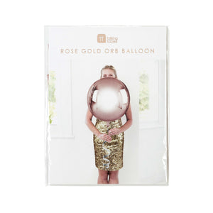 Metallic Rose Gold Orb Balloon with String