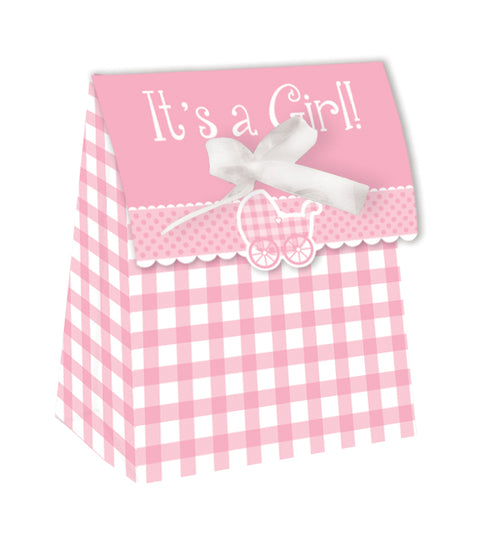 It's a Girl Favour Bags with Ribbons Pink