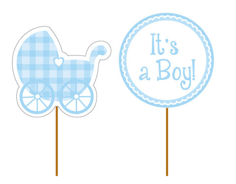 It's a Boy Cupcake Toppers Blue
