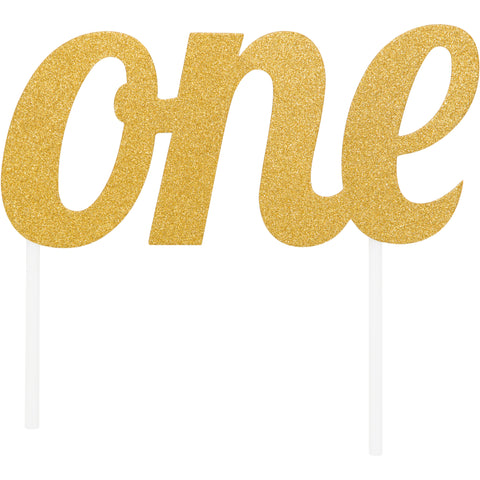 Milestone Glitter One Birthday Cake Topper Gold