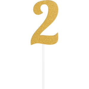 Number 2 Glitter Cake Topper Gold