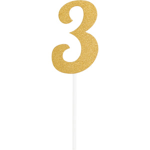 Number 3 Glitter Cake Topper Gold