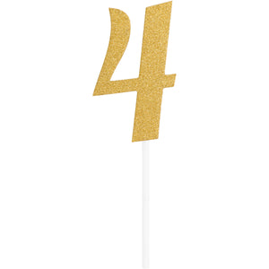 Number 4 Glitter Cake Topper Gold