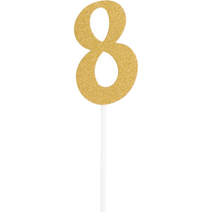 Number 8 Glitter Cake Topper Gold