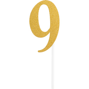 Number 9 Glitter Cake Topper Gold