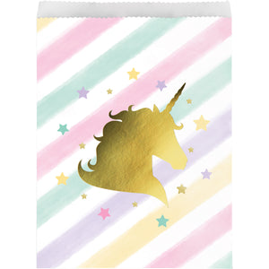 Unicorn Sparkle Large Paper Treat Bags Foil Stamp