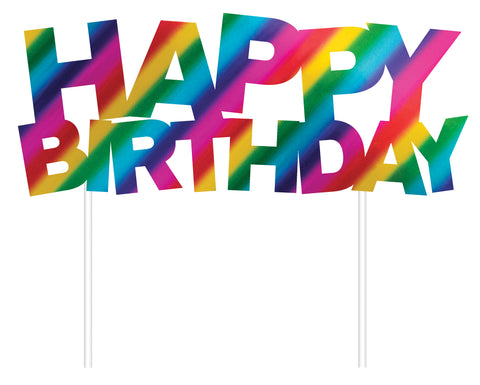 Rainbow Foil Happy Birthday Cake Topper Foil