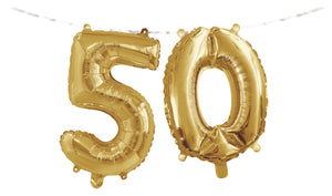 "Number ""50"" Balloon Banner with Ribbon"