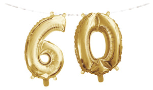 "Number ""60"" Balloon Banner with Ribbon"