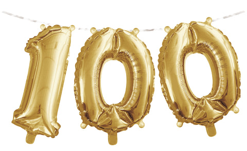 "Number ""100"" Balloon Banner with Ribbon"