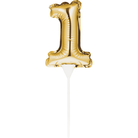 Self-Seal Mini Balloon Cake Topper 1 Gold Self-Inflating Technology