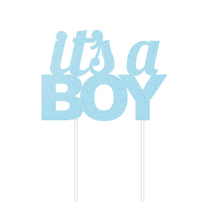 Glitter Its A Boy Cake Topper Blue