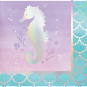 Mermaid Shine Beverage Napkins 3 ply Iridescent Foil Stamped