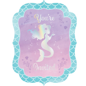 Mermaid Shine Postcard Invitations with Envelopes Iridescent Foil