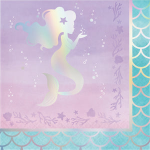 Mermaid Shine Lunch Napkins 3 ply Iridescent Foil Stamped