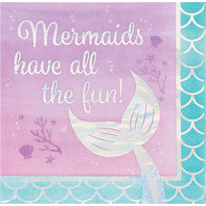 Mermaid Shine Lunch Napkins 3 ply All The Fun Iridescent Foil Stamped