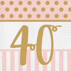 "Pink Chic ""40th"" Paper Lunch Napkins"