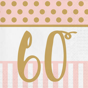 "Pink Chic ""60th"" Paper Lunch Napkins"