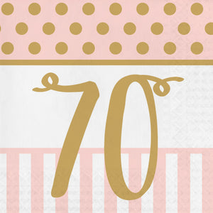 "Pink Chic ""70th"" Paper Lunch Napkins"