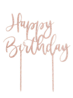 HAPPY BIRTHDAY GLITTER ACRYLIC CAKE TOPPER - ROSE GOLD