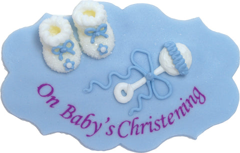 On Baby's Christening Sugarcraft Plaque Blue