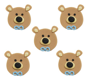 Teddy Bear Head Sugarcraft Toppers Blue