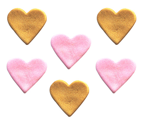Shimmer Pink and Gold Hearts Sugarcraft Toppers