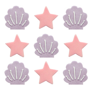 Mermaid Shine Iridescent Stars and Shells Sugarcraft Toppers