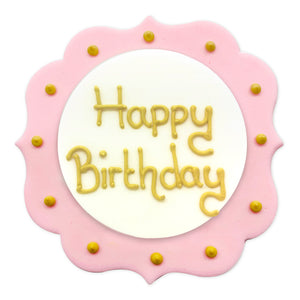 Pink Happy Birthday Sugarcraft Plaque