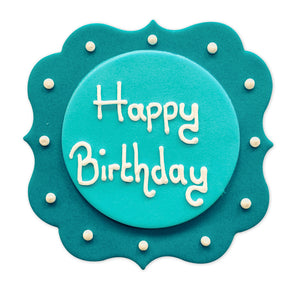 Blue Happy Birthday Sugarcraft Plaque